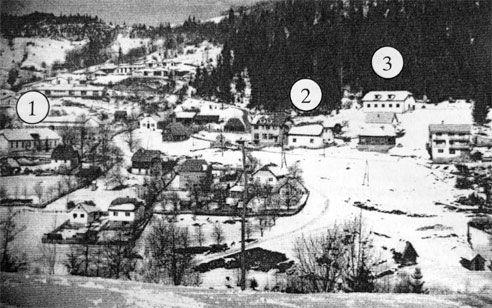Slika stare Vežanje u zimskom ambijentu iz 70-tih godina XX veka